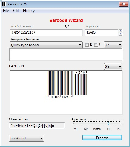 Barcode Wizard Windows 7 EAN-13 fonts
