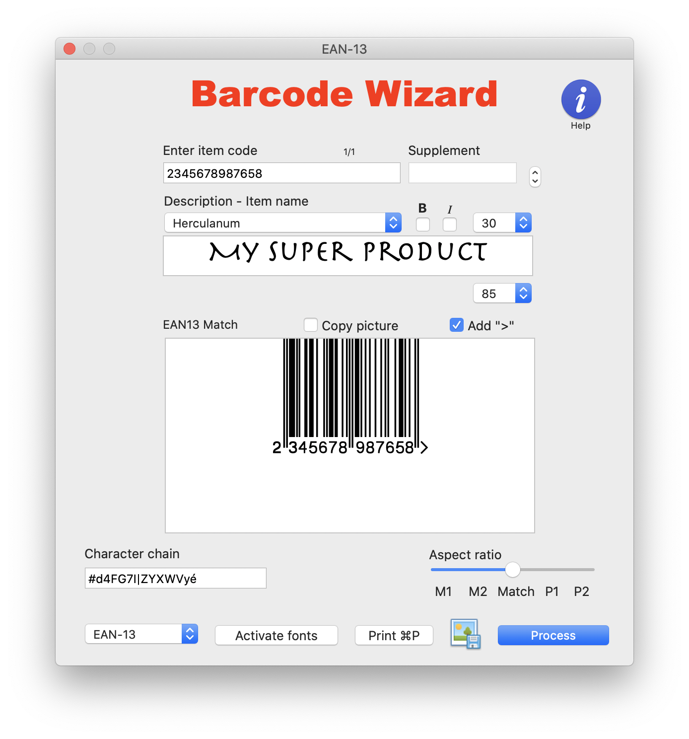 Barcode font as seen within the Barcode Wizard Windows XP